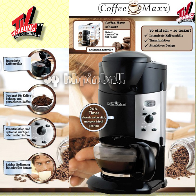 coffee maxx kaffeemaschine mit mahlwerk und timer mit kaffee m hle schwarz max ebay. Black Bedroom Furniture Sets. Home Design Ideas