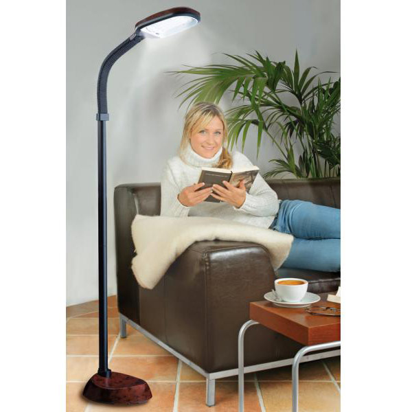 daylight design standleuchte stehlampe leuchte holz optik mahagoni leser lampe ebay. Black Bedroom Furniture Sets. Home Design Ideas