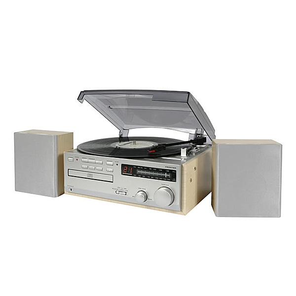 plattenspieler radio cd player 2 boxen vinyl platten ukw mw led cd rw holz ebay. Black Bedroom Furniture Sets. Home Design Ideas