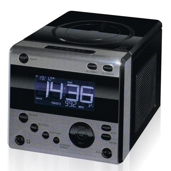 design stereo uhrenradio mit cd player alu radiowecker digital wecker uhr aux in ebay. Black Bedroom Furniture Sets. Home Design Ideas