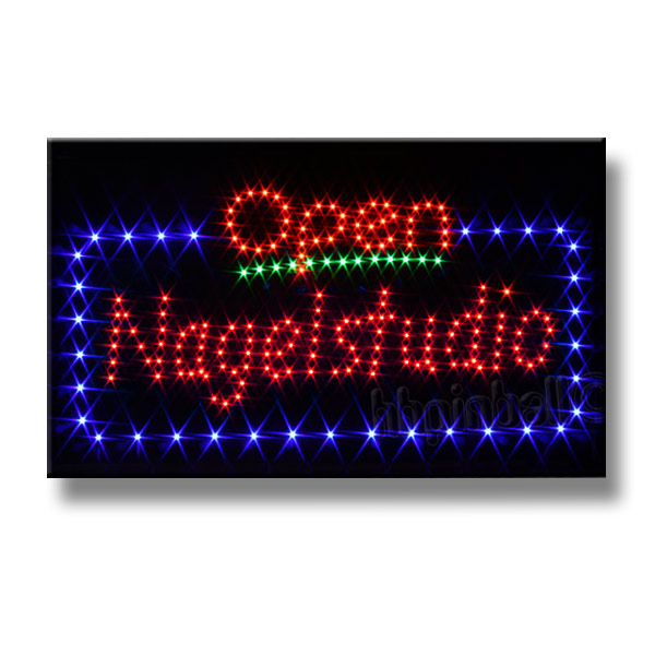 open nagelstudio led schild leuchtschild leuchtreklame reklame stopper werbung ebay. Black Bedroom Furniture Sets. Home Design Ideas