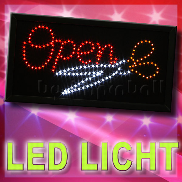 open schere led schild reklame leuchtreklame stoper licht werbung leuchtschild ebay. Black Bedroom Furniture Sets. Home Design Ideas