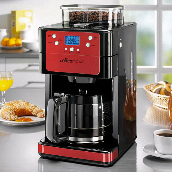 coffee maxx premium kaffeemaschine kaffeeautomat mit m hle kaffeem hle rot bware ebay. Black Bedroom Furniture Sets. Home Design Ideas