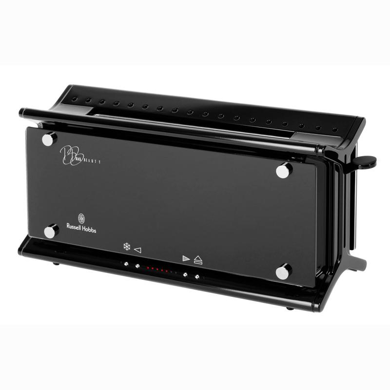 russell hobbs black beauty toaster 14694 glas line design edelstahl sehr gut ebay. Black Bedroom Furniture Sets. Home Design Ideas