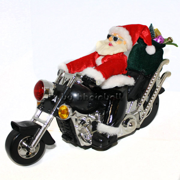 rockender weihnachtsmann mit motorrad santa claus ebay. Black Bedroom Furniture Sets. Home Design Ideas
