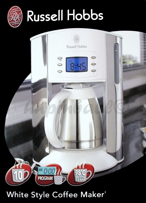 russell hobbs white style kaffeemaschine edel wei mit edelstahl thermokanne ebay. Black Bedroom Furniture Sets. Home Design Ideas